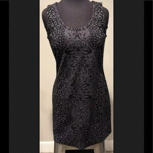 Athleta sz 4 petite gray black leopard print dress